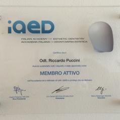 Accademia Italiana di Estetica Dentale IAED. Nomina a Socio Attivo di Riccardo Puccini 2012
